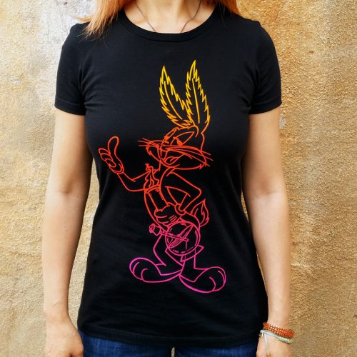 Women's Bugged Bunny Black Fitted T'Shirt.