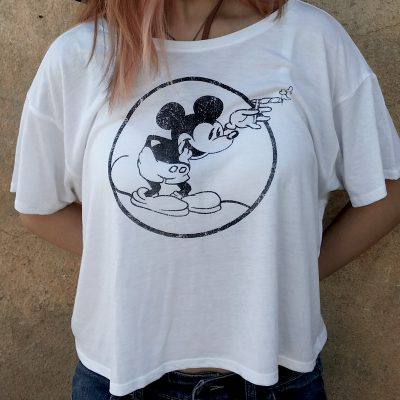 "Women""s Round Mickey Heather White Flowy"